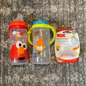 2 Nuk Baby Toddler Transition Sippy Bottle Cups